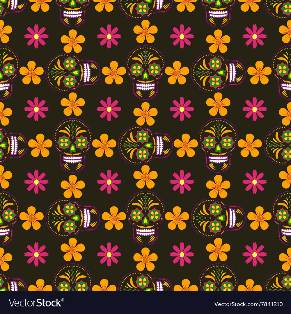 Seamless background with sugar skulls and flowers