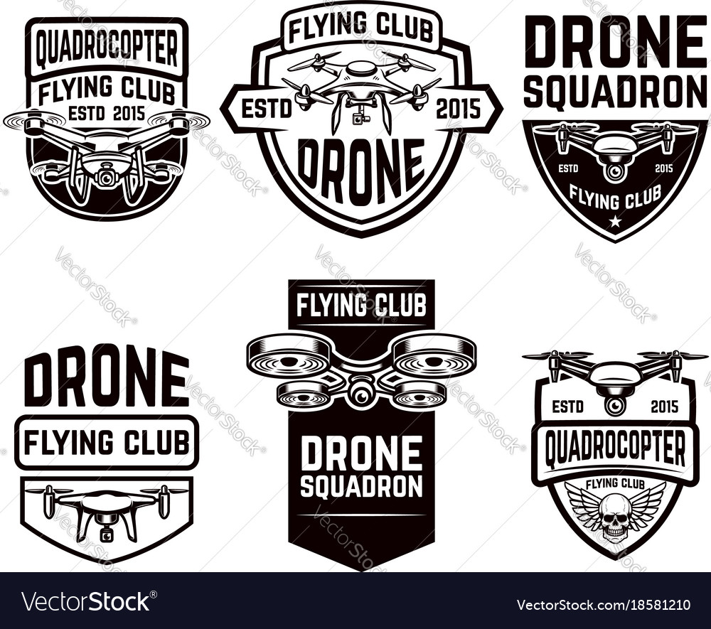 Set of drone flying club emblems templates