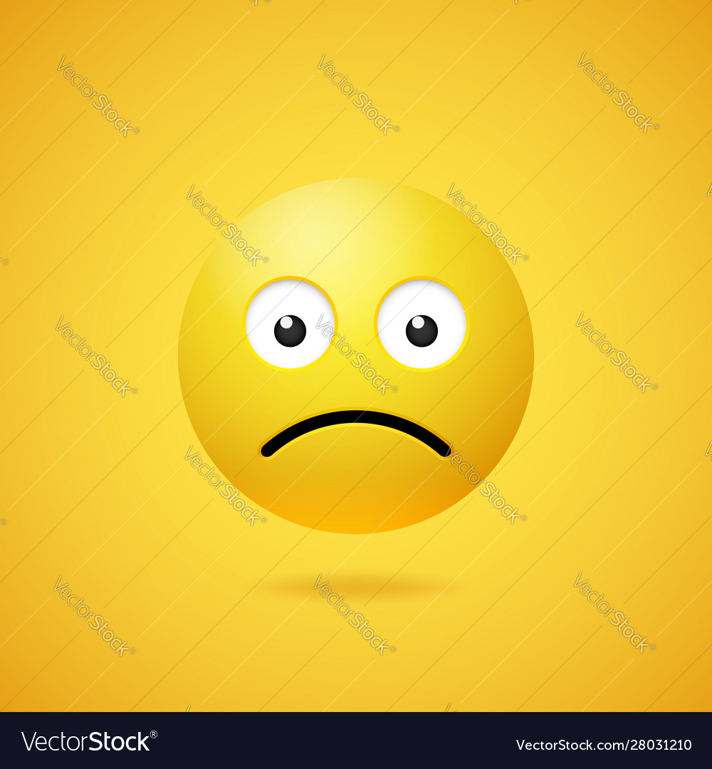 Unhappy sad emoticon with opened eyes and mouth