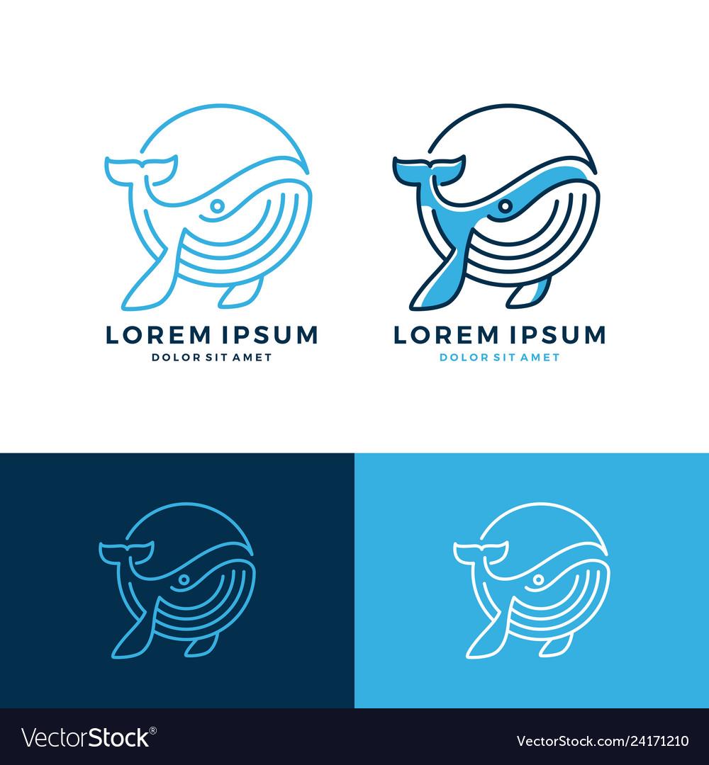 Whale logo emblem line art outline download
