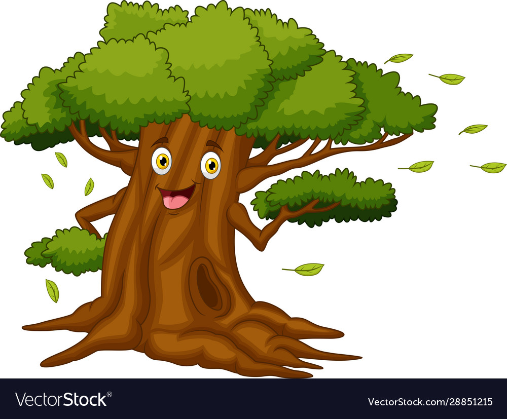 Cartoon Tree With A Face Royalty Free Vector Image Silhouette of three owls on branch. vectorstock