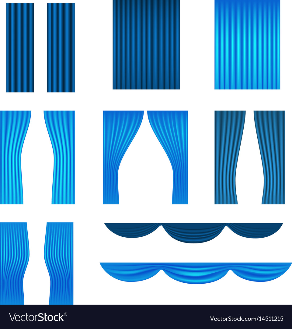 Different stage blue curtains collection