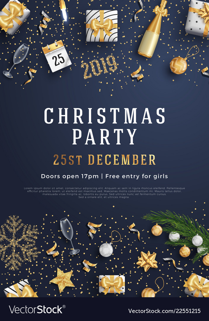 Merry christmas party layout poster poster