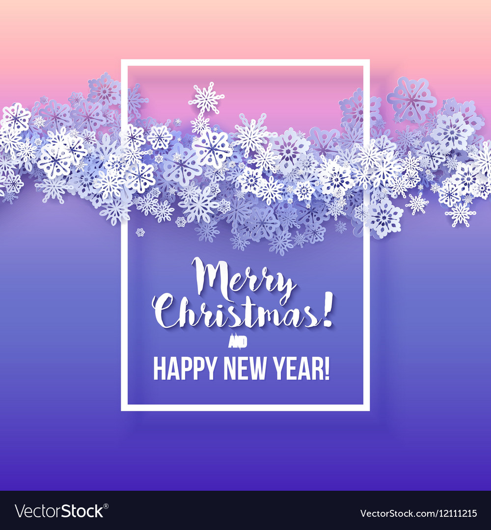 Round snow frame with Merry Christmas text