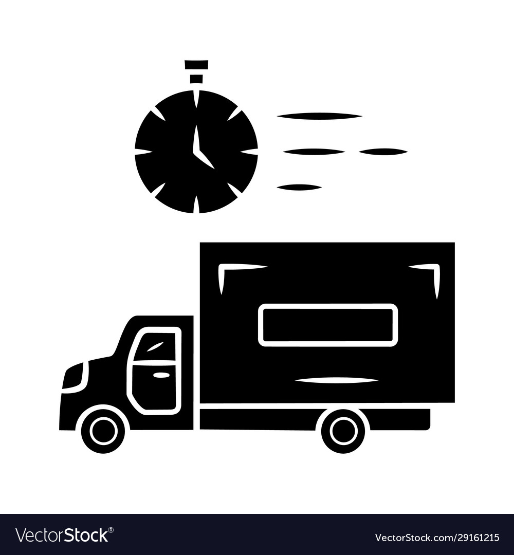Same day delivery glyph icon fast shipping