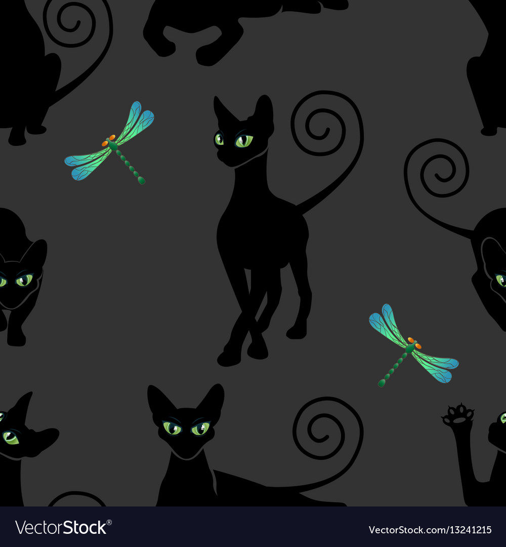 Seamless pattern with black cats