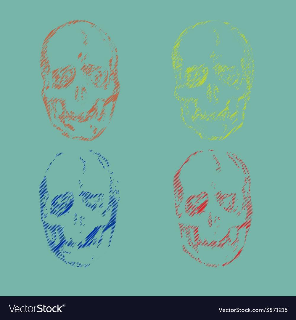 Set skulls isolated on background