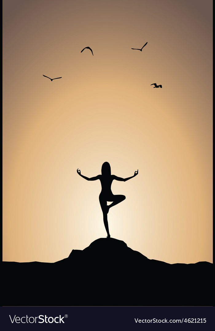 Sunset Yoga Poster Vector Image