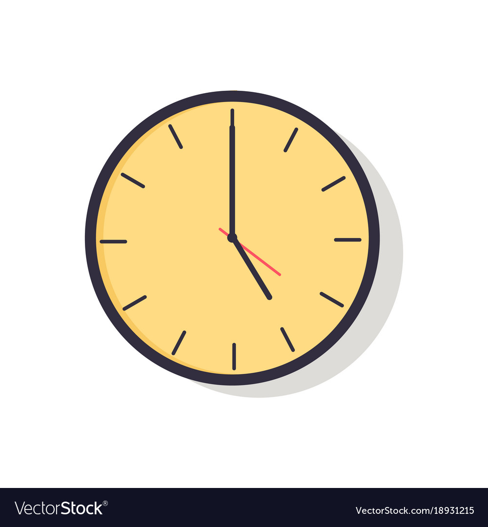 Yellow clock isolated on