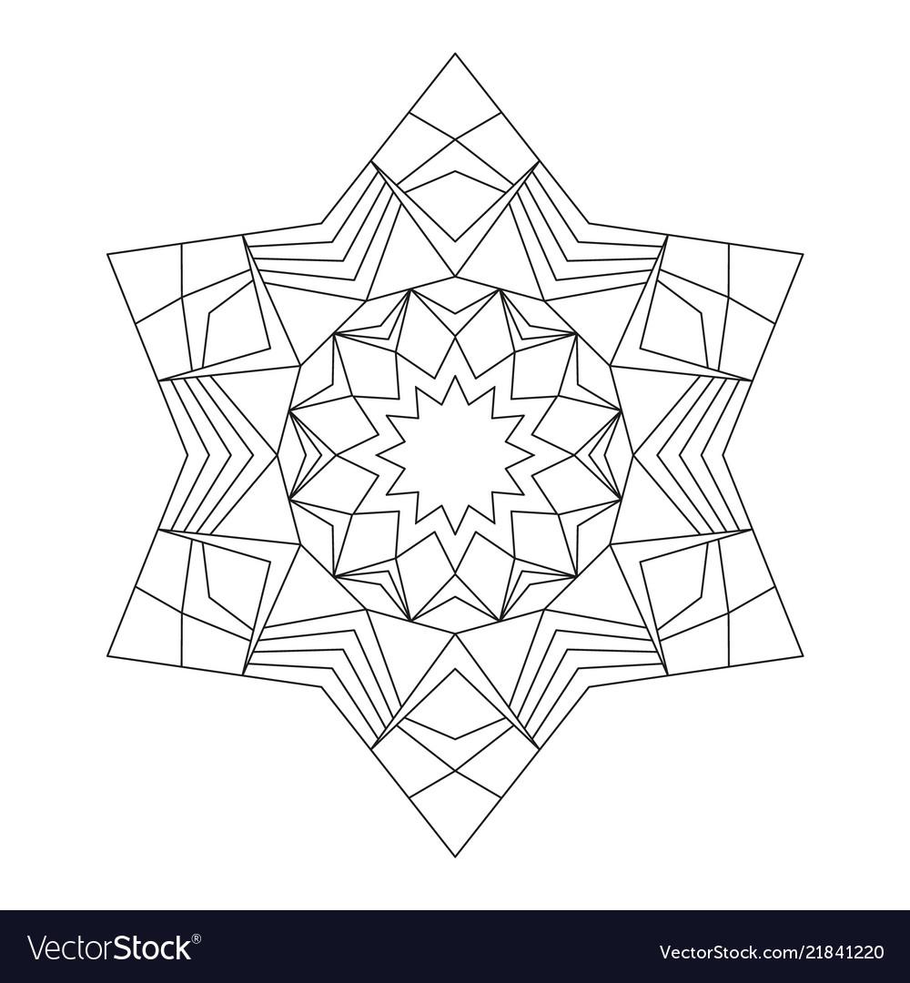 Black and white circular round star mandala star