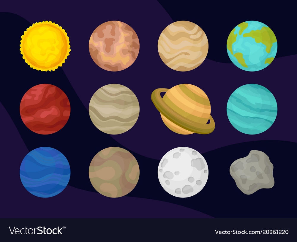 Flat set of planets of solar system space