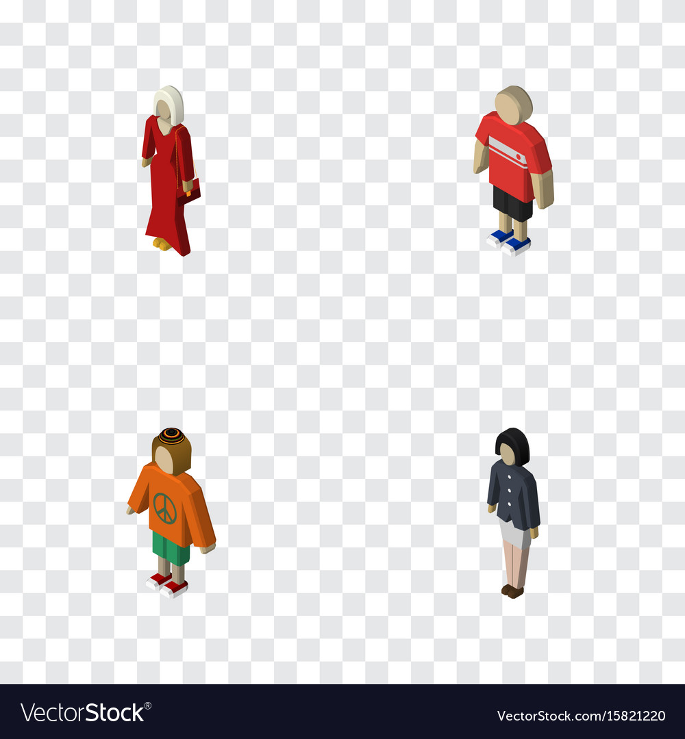 Isometric people set of lady girl female and vector image