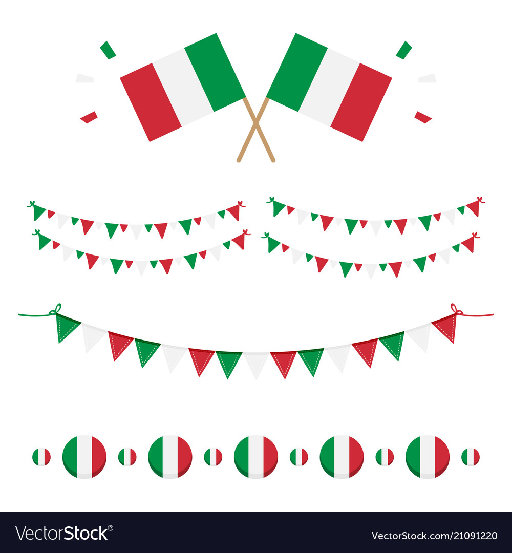 Italian flags and ribbons
