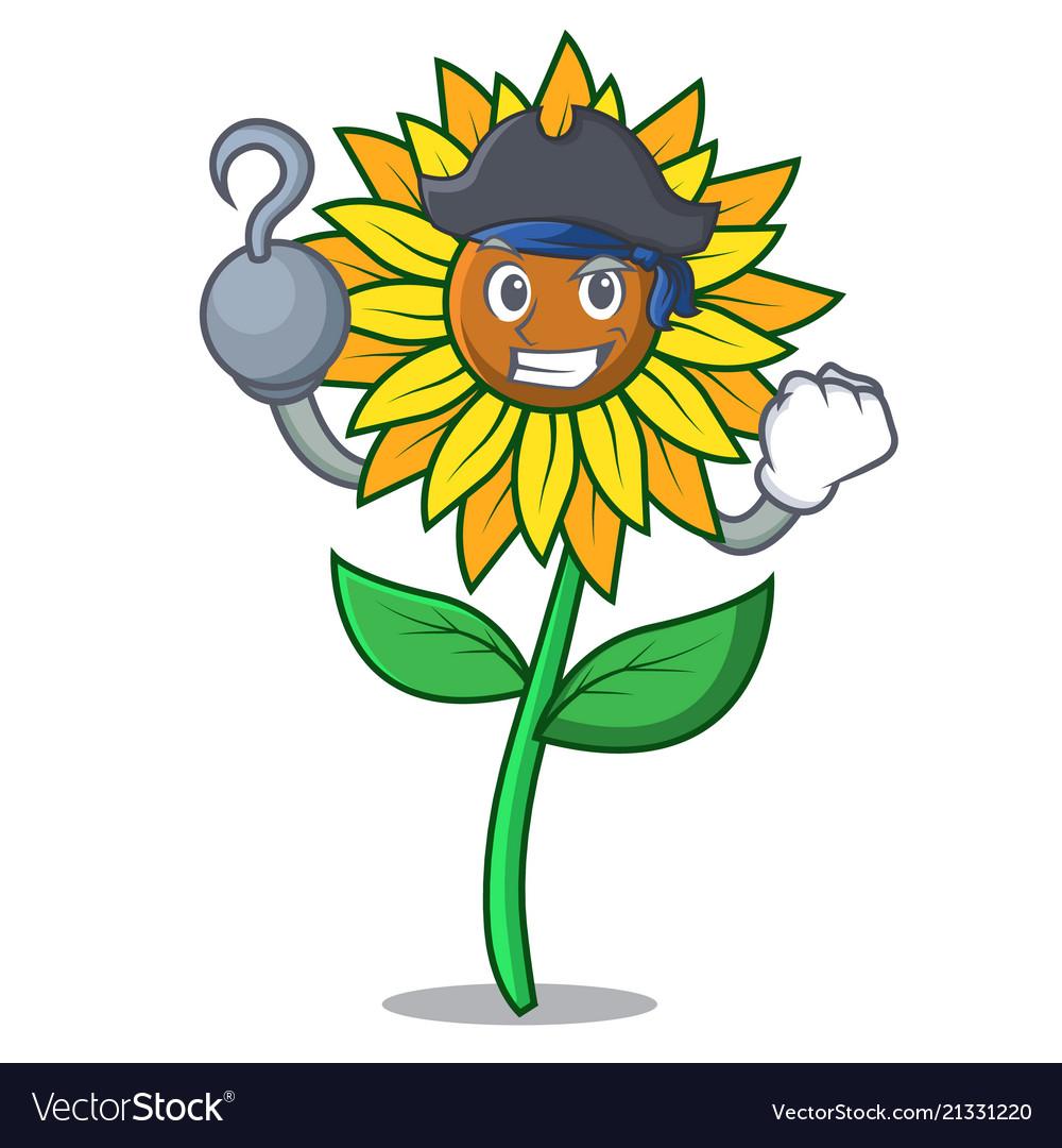 Pirate sunflower character cartoon style