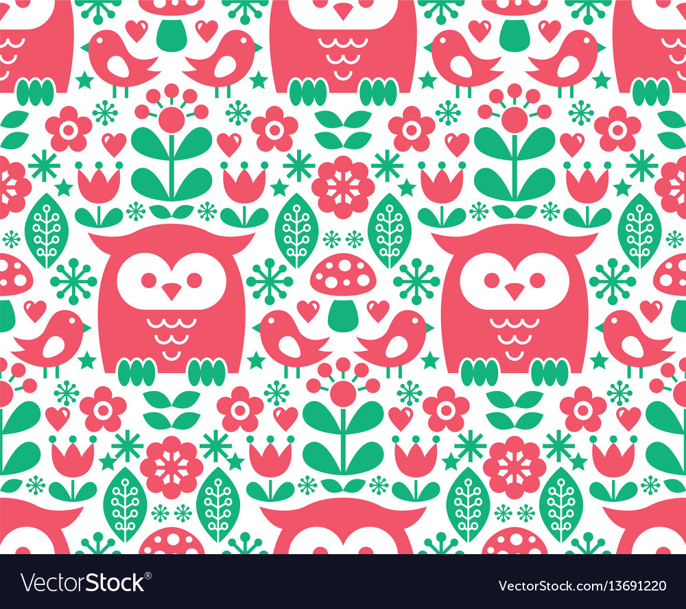 Seamless scandinavian pattern nordic folk art