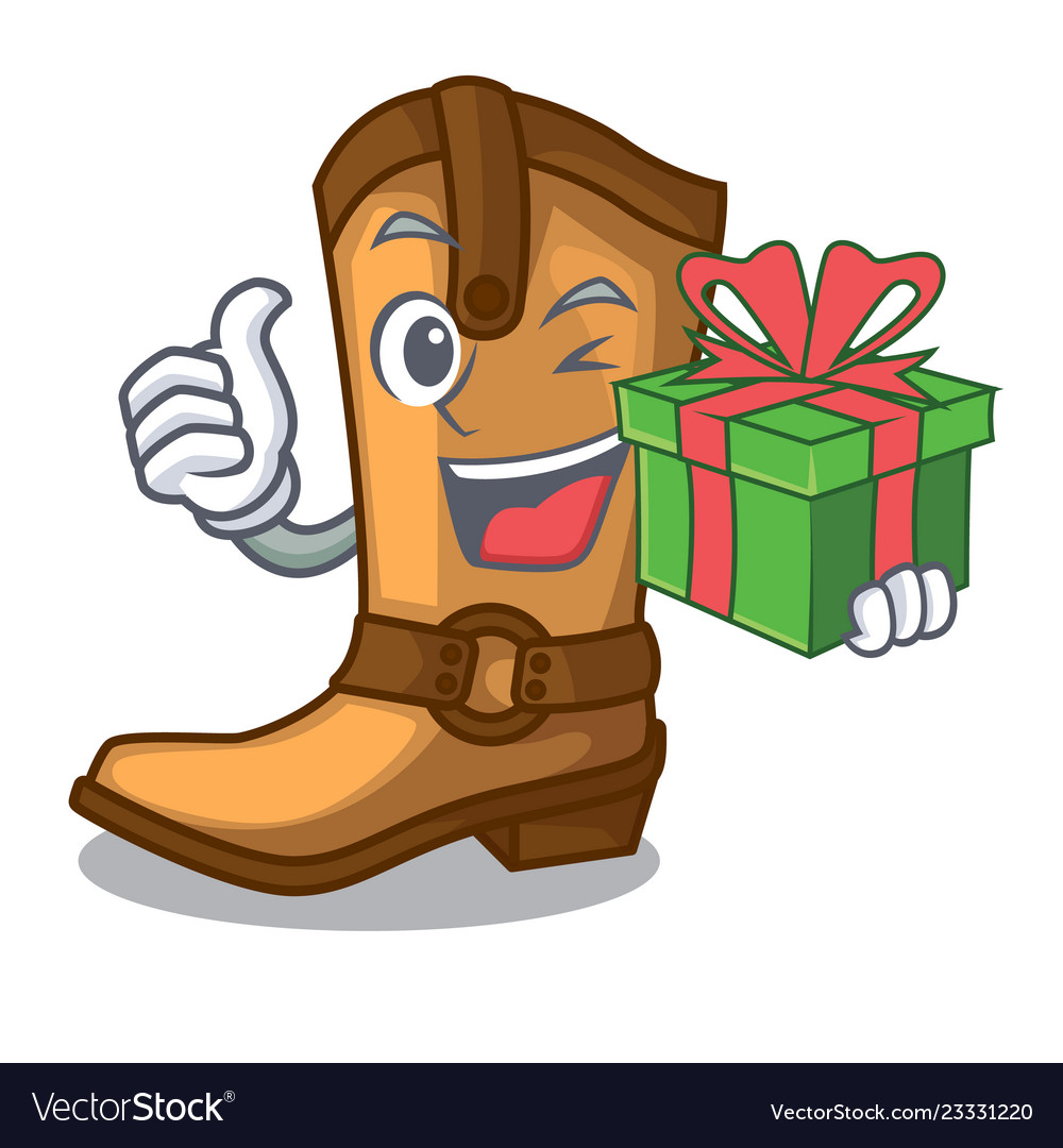 With gift old cowboy boots in shape character
