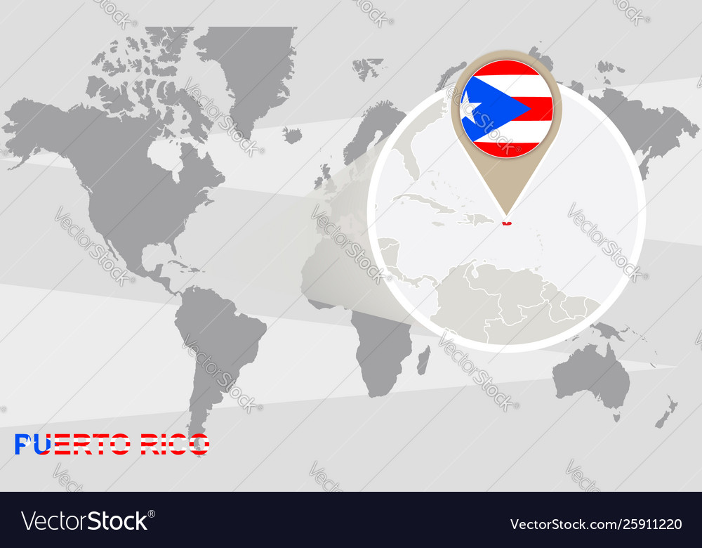 World map with magnified puerto rico Royalty Free Vector