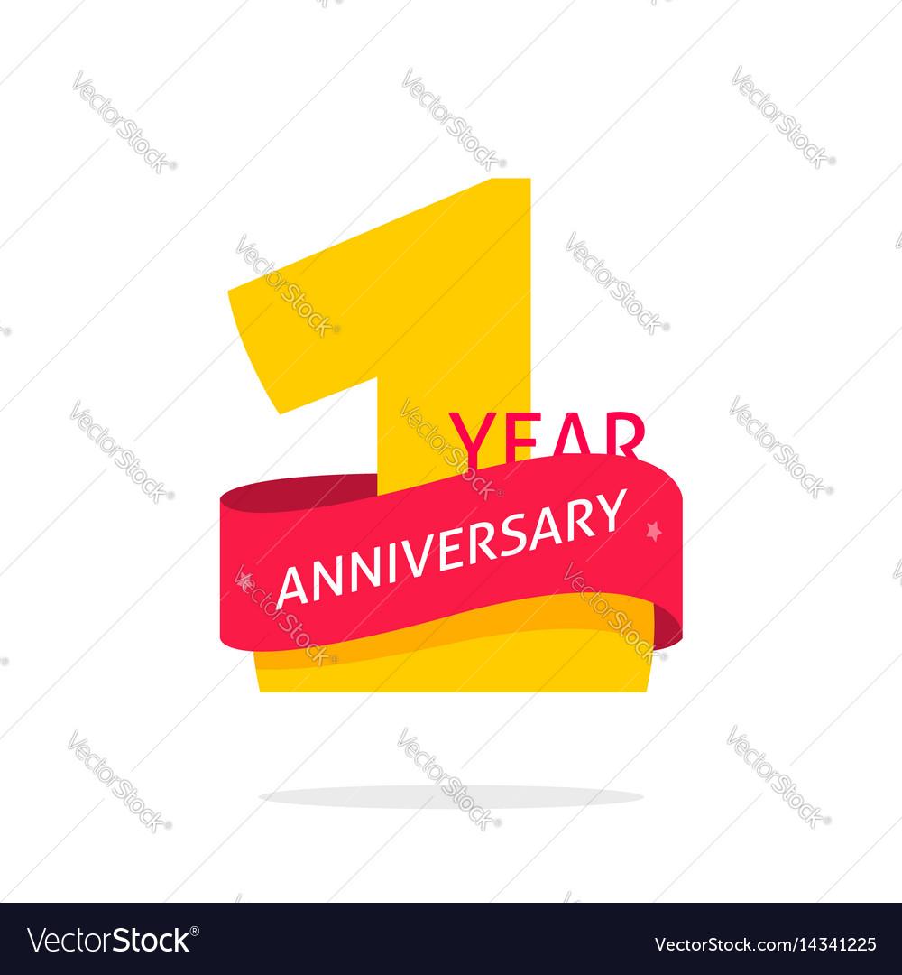 1 year anniversary logo 1st anniversary icon vector image