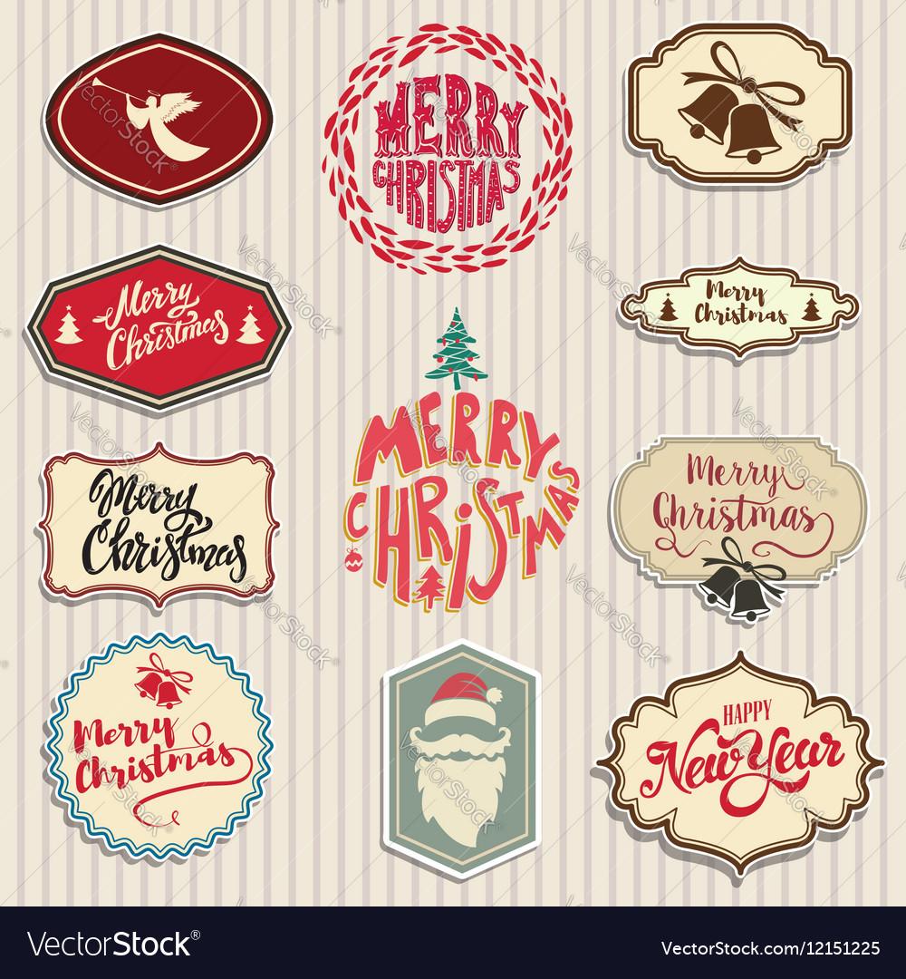 Christmas emblems set Santa Claus beard angel