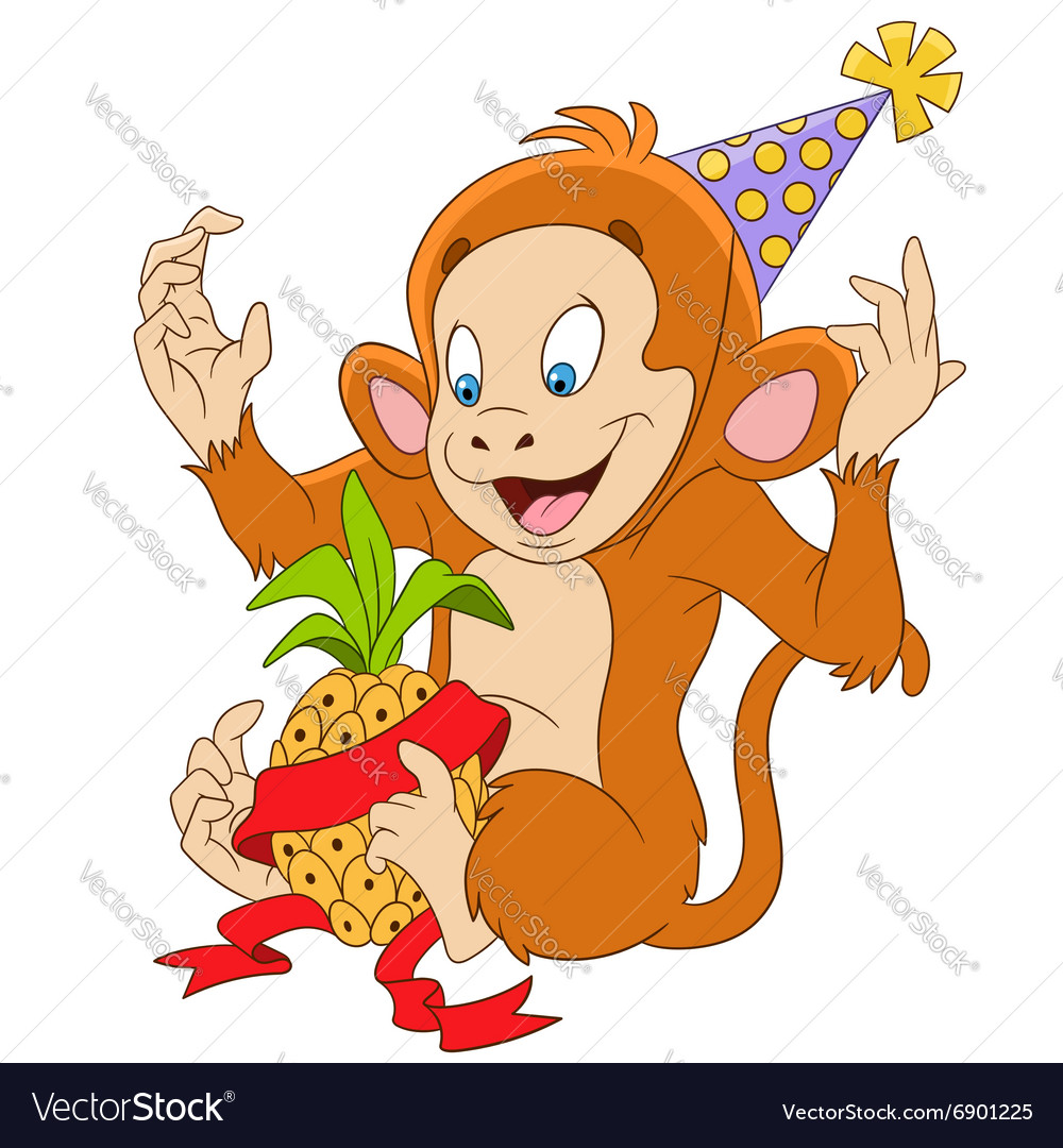 Cute and funny cartoon monkey vector image