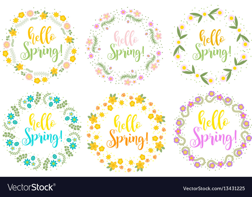 Hello spring set floral frame for text isolated