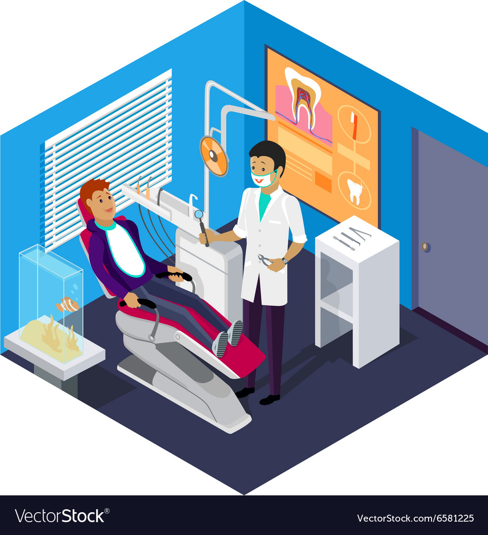 Isometric Dentist Office During Reception Patient