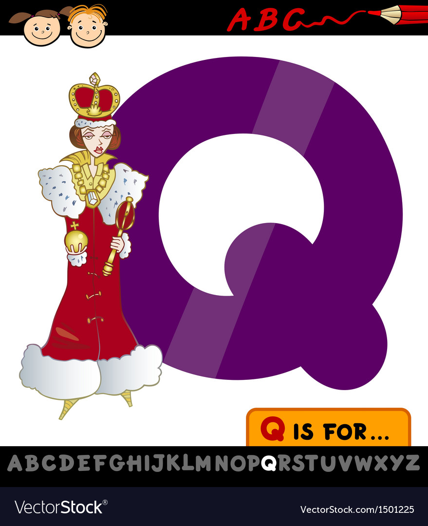 letter q with queen cartoon royalty free vector image
