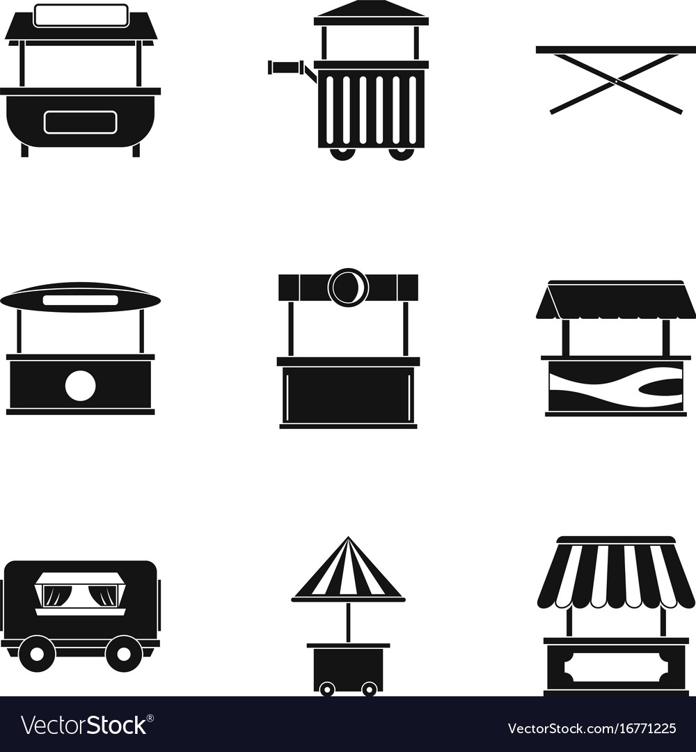 Market stall icon set simple style vector image