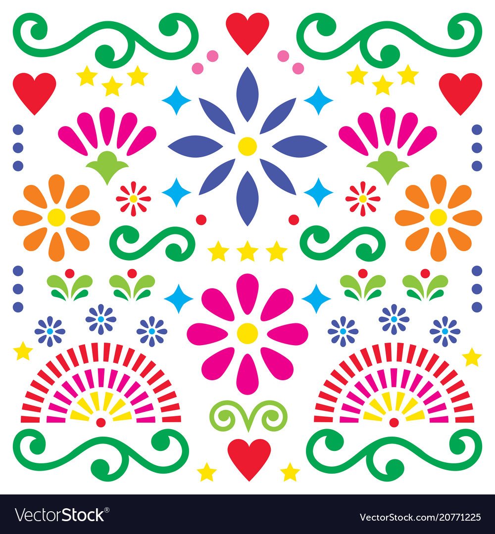 Mexican folk art pattern colorful design