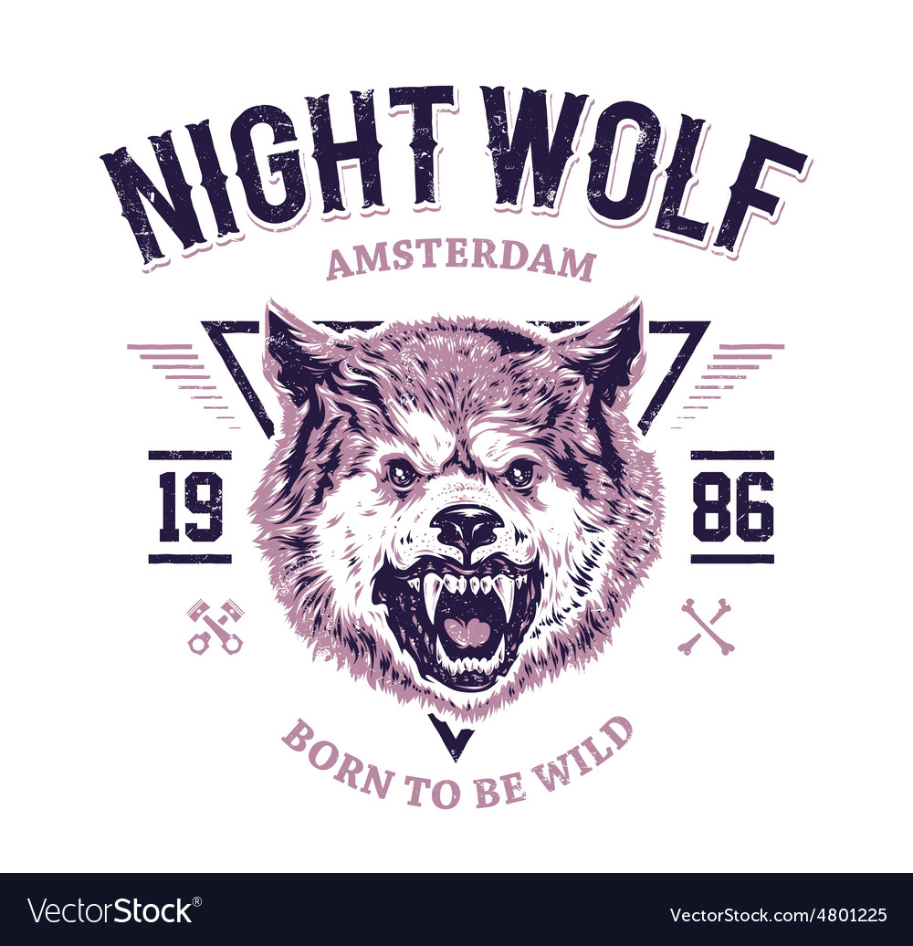 Night wolf vector