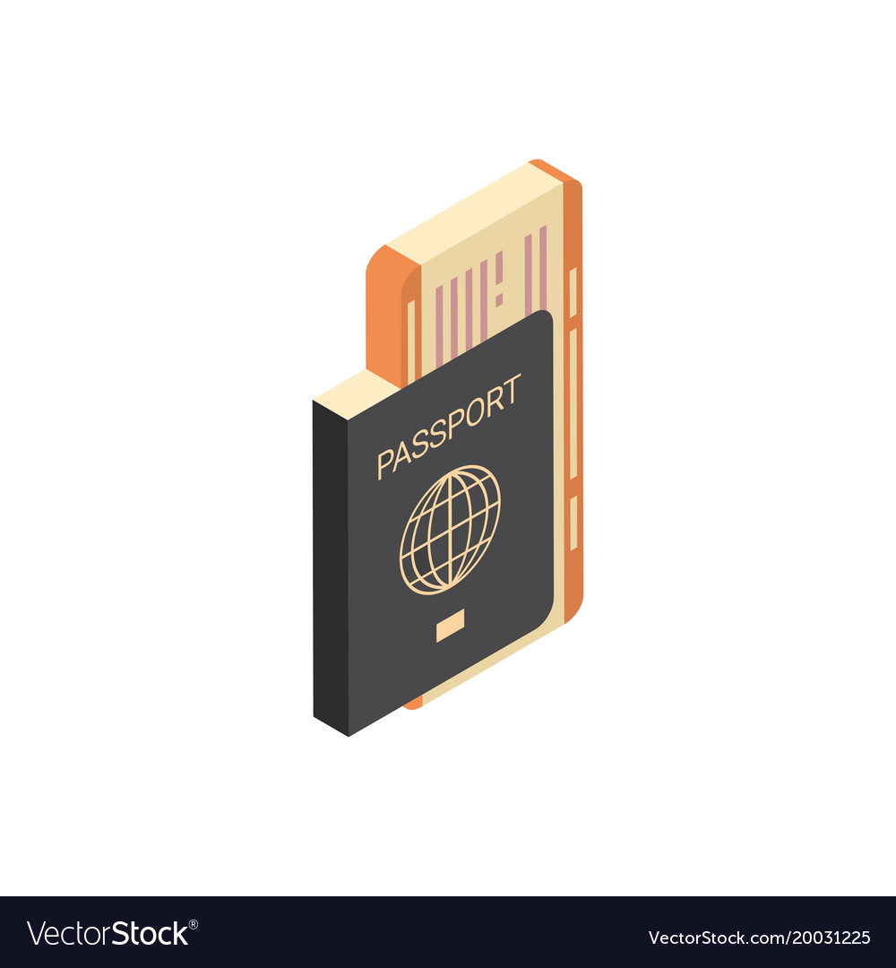 Passport with tickets icon isometric isolated