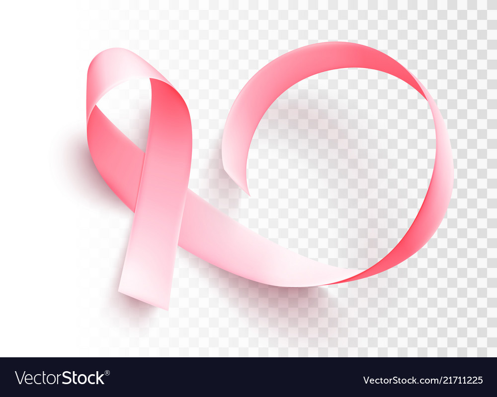 Realistic pink ribbon symbol of breast cancer