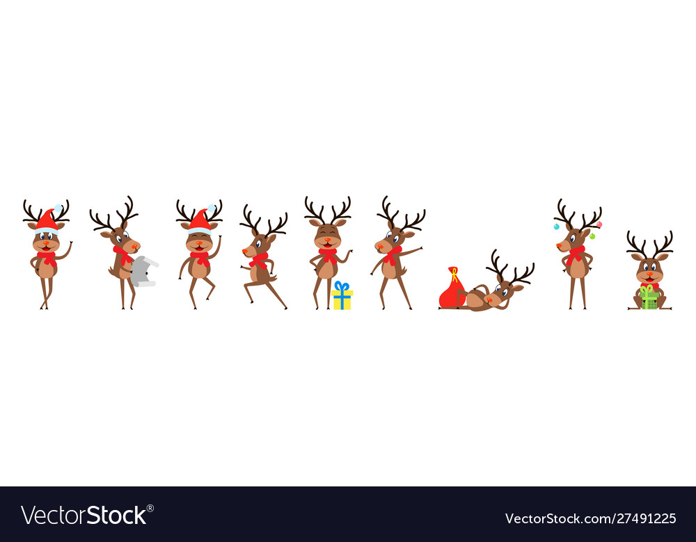 Set funny deers christmas reindeers cheerful