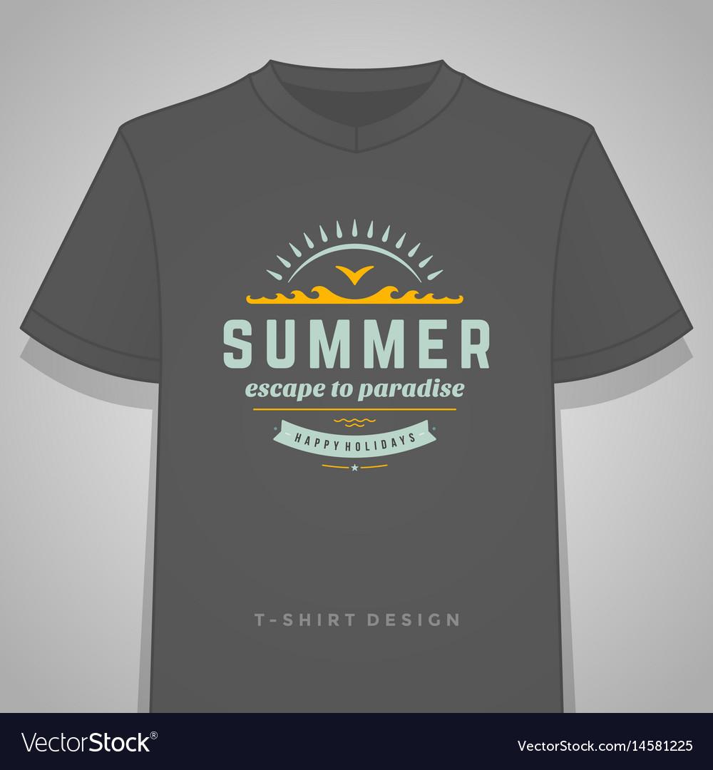 Summer holidays typography tee shirt print
