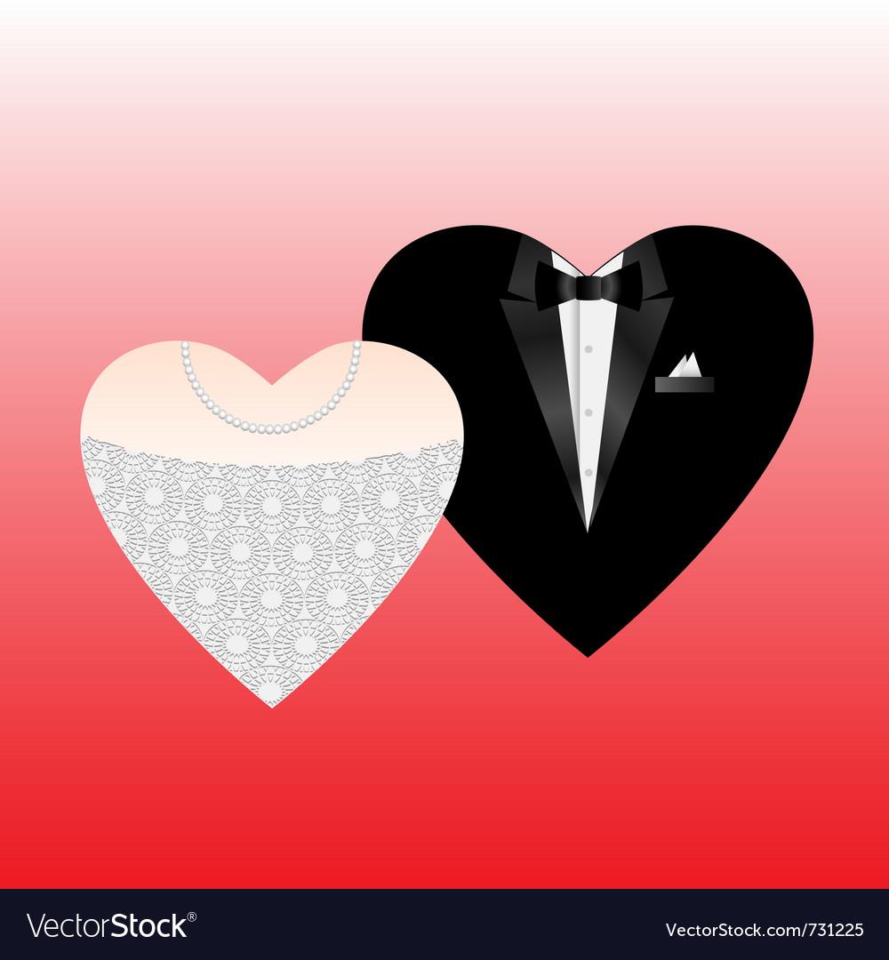 Wedding hearts vector image