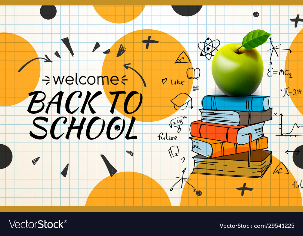 Welcome back to school web banner apple and