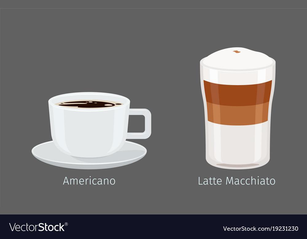 American and latte macchiato coffee