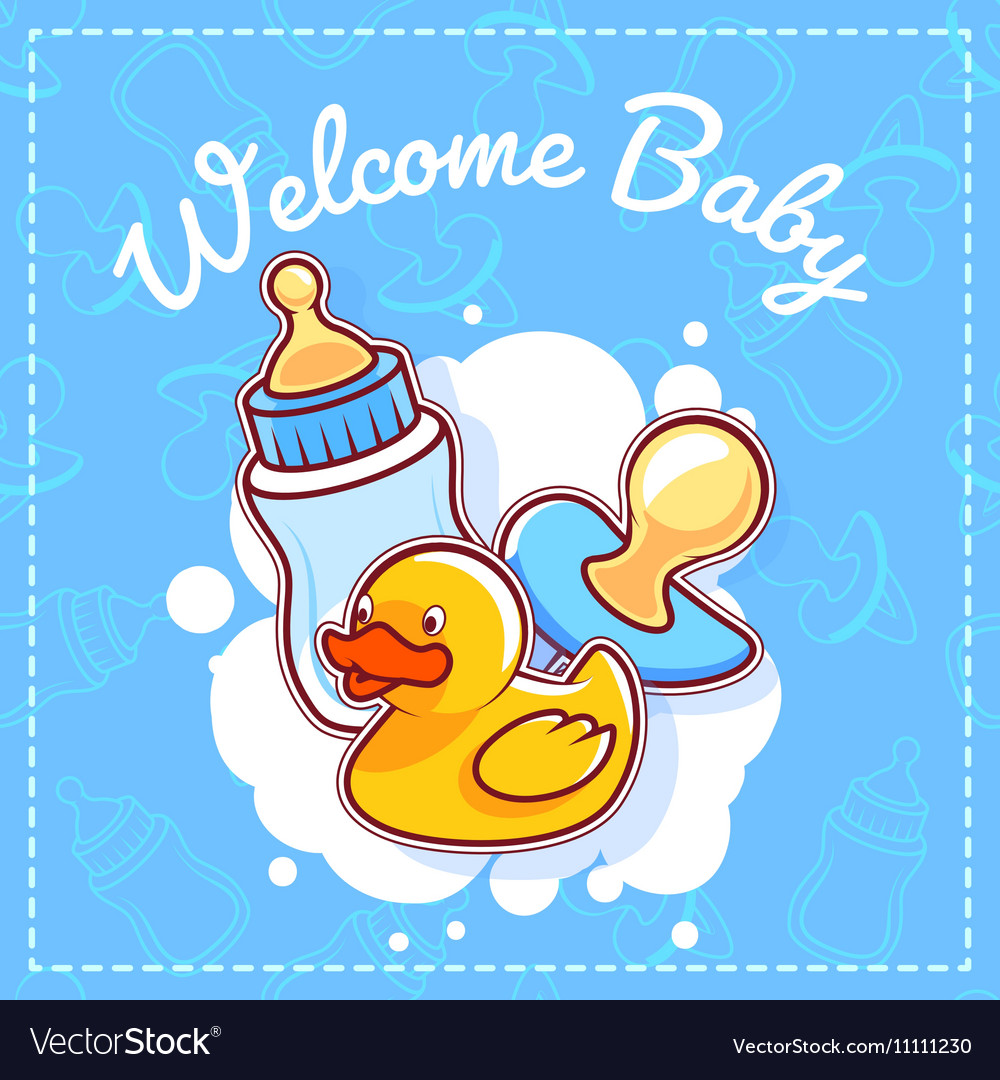 Baby shower card welcome baby royalty free vector image baby shower card welcome baby vector image m4hsunfo