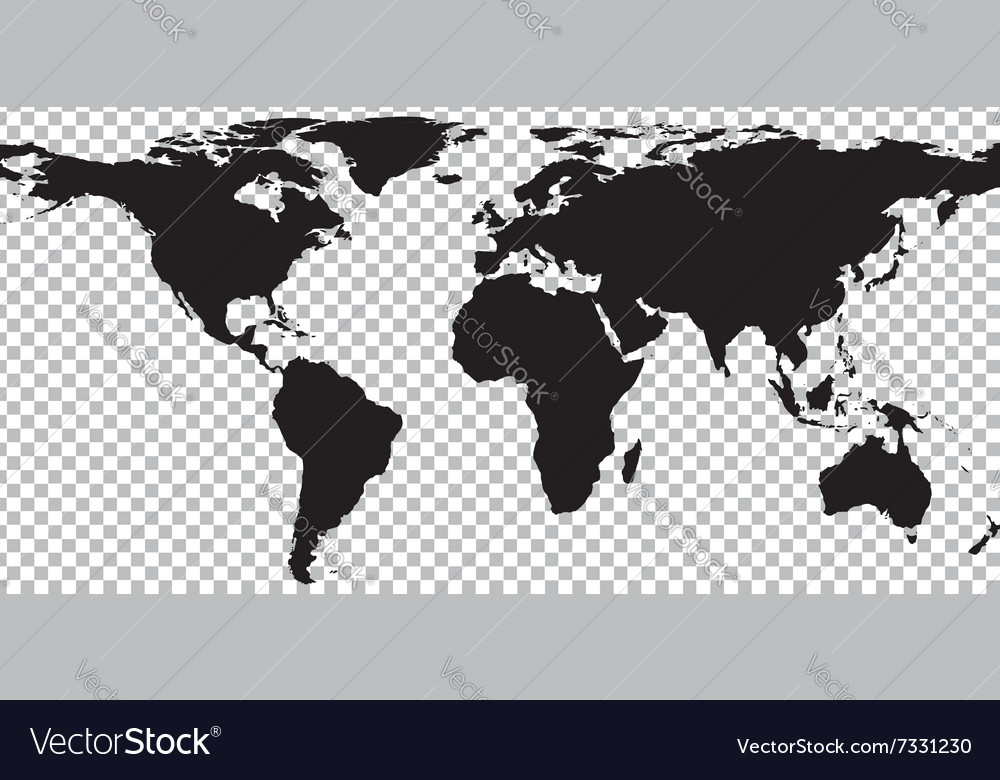 Black map of world on transparent background Vector Image