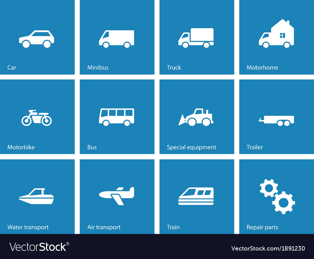 Cars and Transport icons on blue background