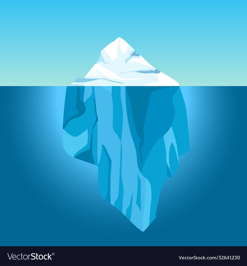 Cartoon iceberg in water big iceberg floating in