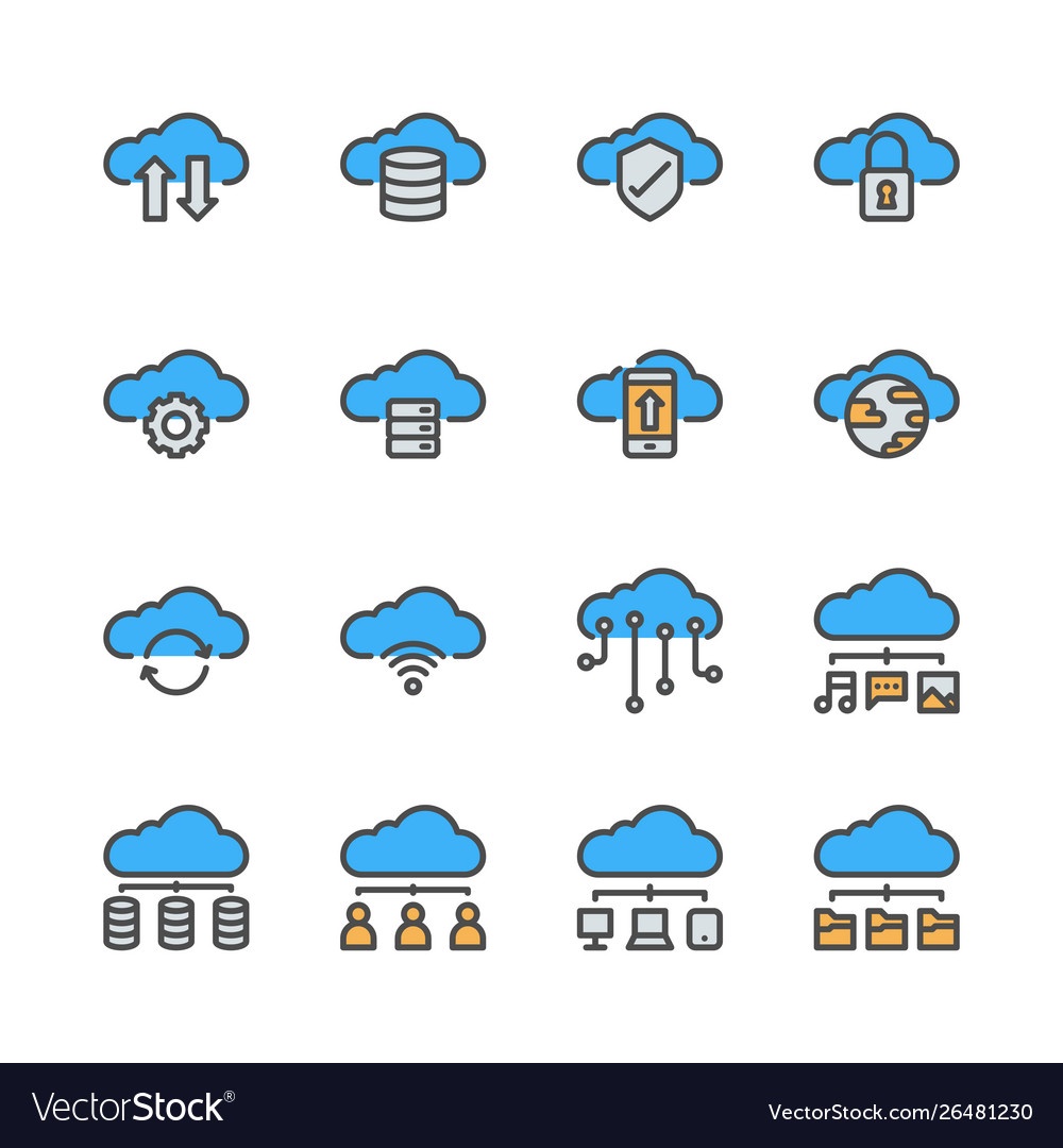 Cloud technology icon set in colorline design