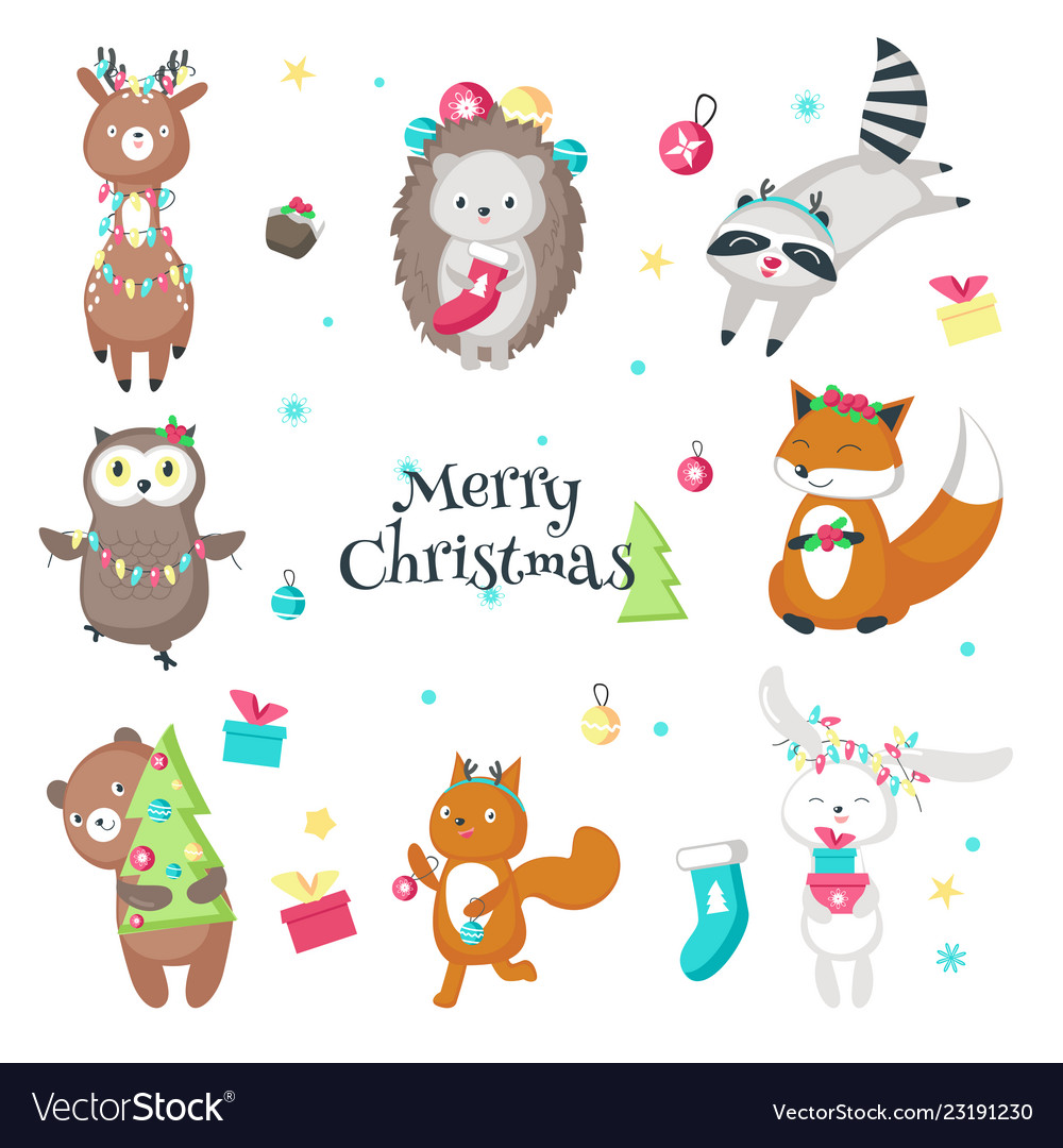 Cute funny christmas animals isolated
