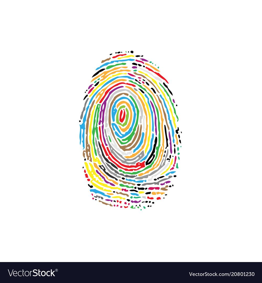 Fingerprint colorful silhouette