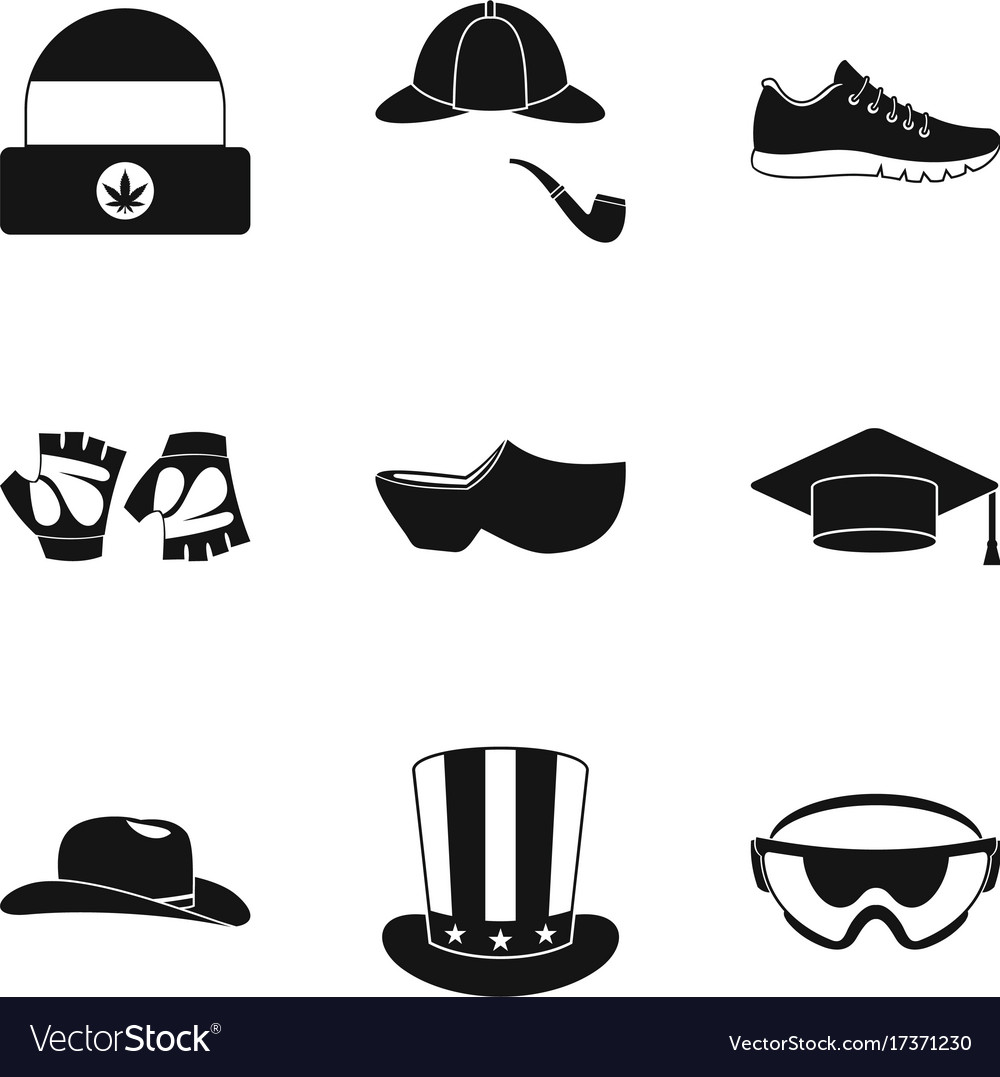 Hats clothing icon set simple style Royalty Free Vector e2113195c3d3