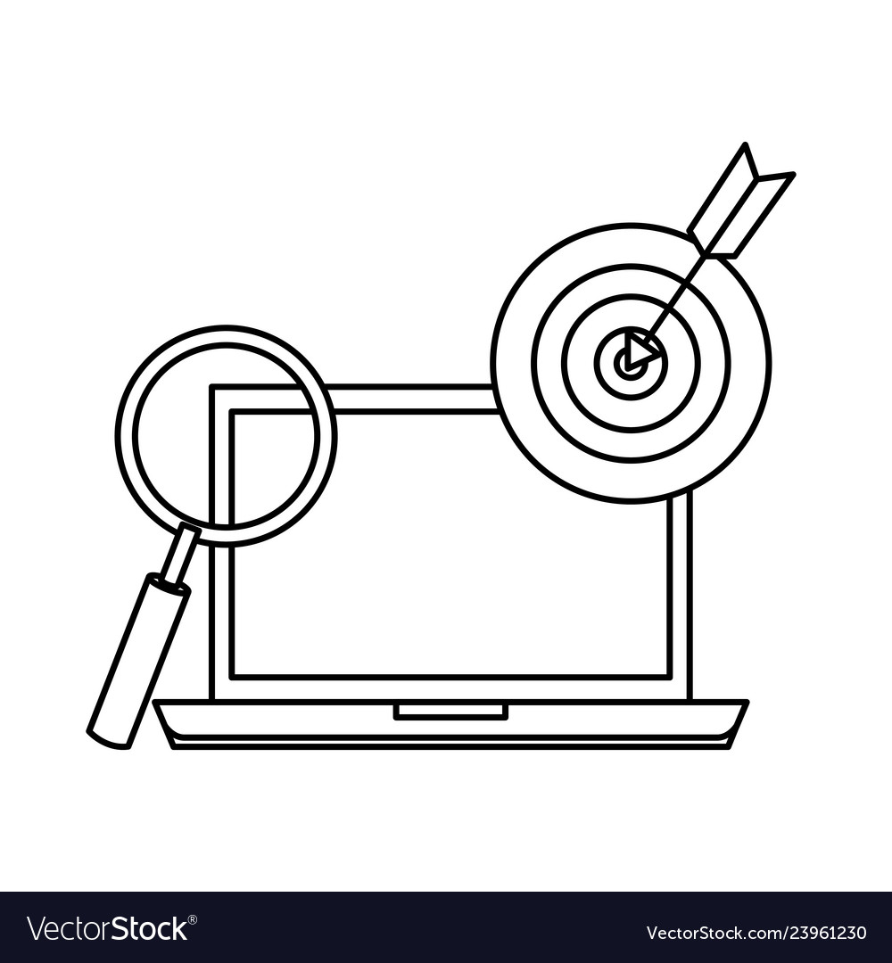 Laptop with target and magnifying glass