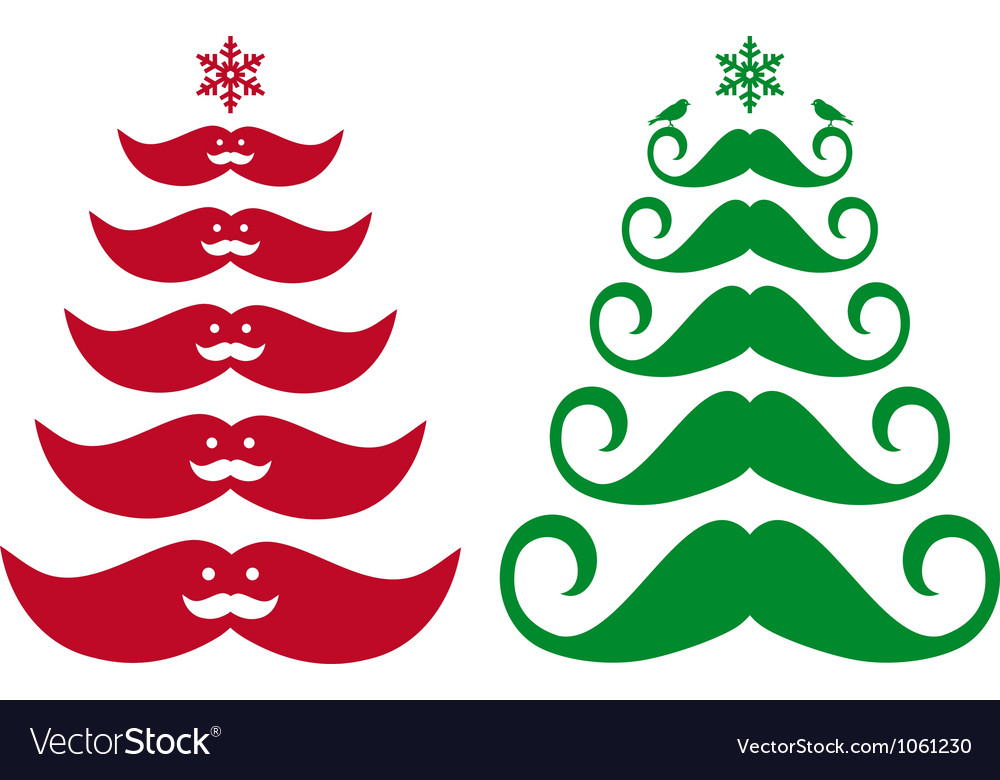Mustache Christmas trees vector image