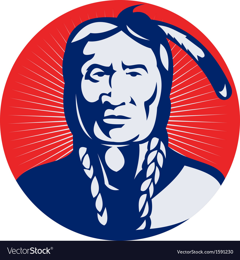 Native american indian chief facing front vector image