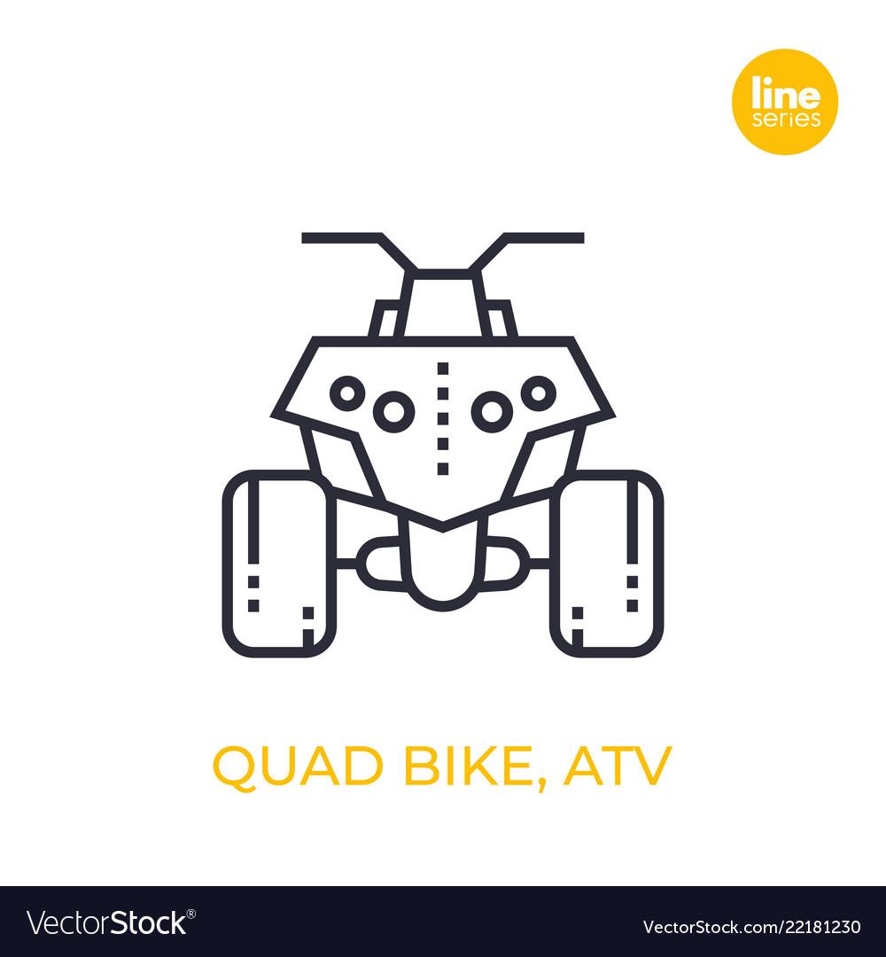 Quad bike all terrain vehicle atv linear icon