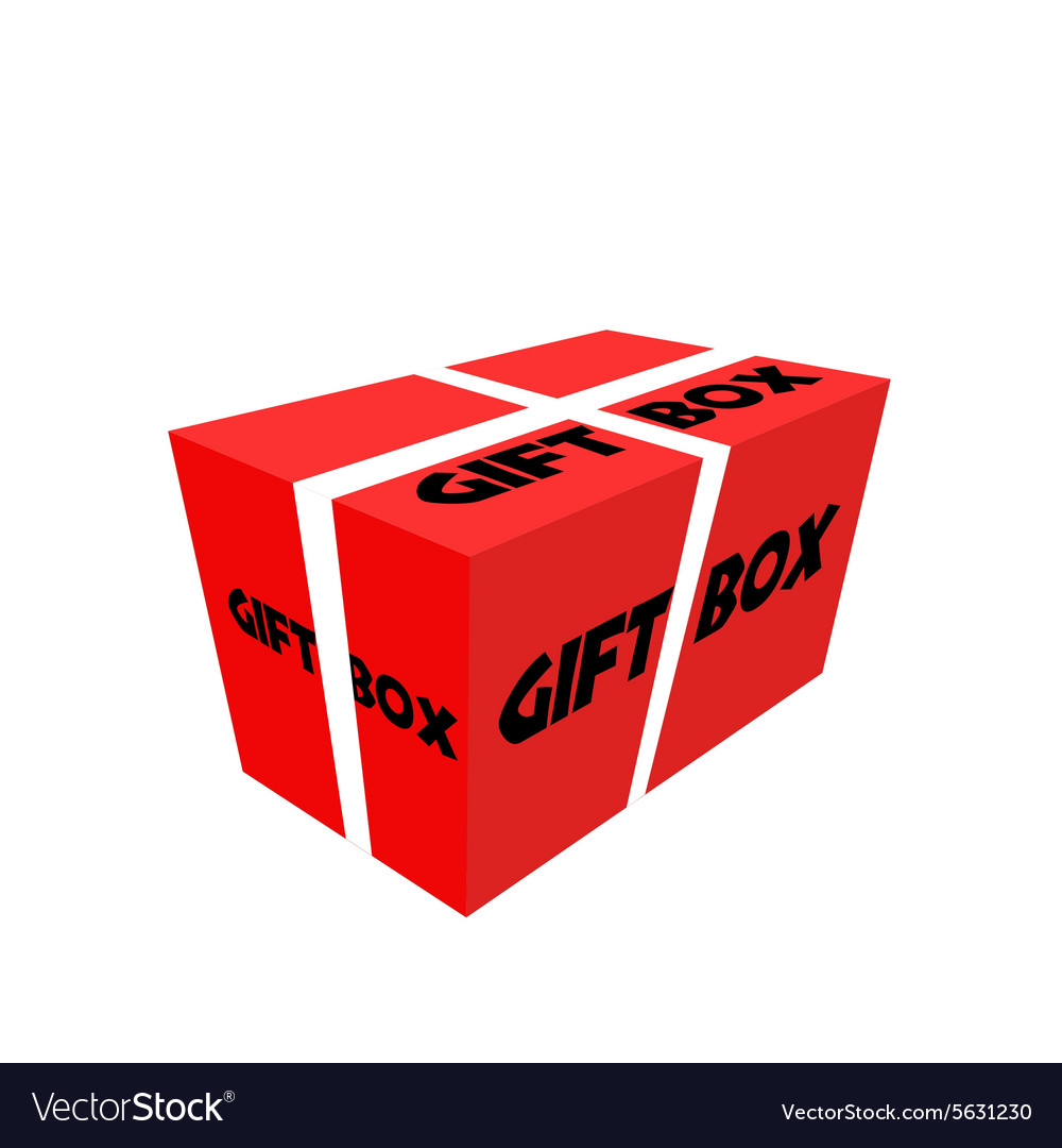 Red Realistic Package Cardboard Box with ribbon vector image
